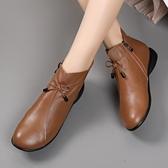 真皮平底靴子女春秋復古圓頭舒適軟底單靴大碼英倫休閒小短靴裸靴 露露日記