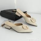穆勒鞋 包頭半拖鞋女2021新款時尚外穿百搭中跟粗跟懶人穆勒鞋尖頭涼拖鞋【618 購物】