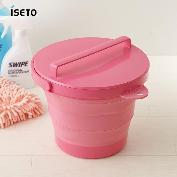 日本ISETO 伸縮折疊式防滑水桶(附蓋子)-8L