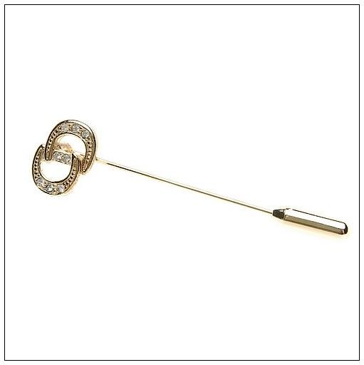 Christian Dior CD鑲鑽金色字母造型胸針(金色)990195