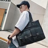 休閒韓版男包多口袋男士手提包公文包 出差電腦包 橫款皮質男包潮
