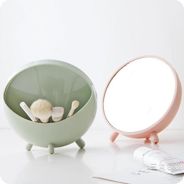 台式化妝鏡 圓形梳妝鏡學生宿舍桌面鏡便攜隨身鏡公主鏡