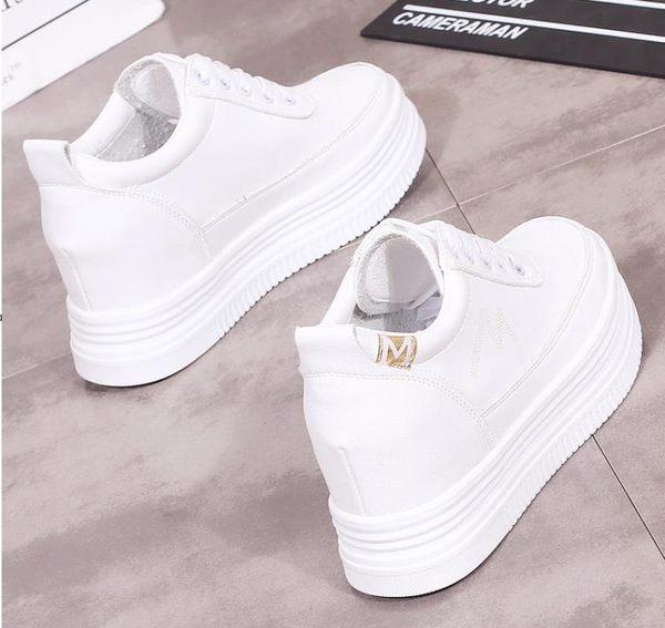 厚底小白鞋女內增高8CM夏季2019新款韓版休閒百搭街拍學生鞋白鞋 美芭