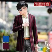 男 西裝外套 L AME CHIC 2016春款 韓國製 貴族兩扣直條紋窄版修身長版西裝外套【DTBL030201】