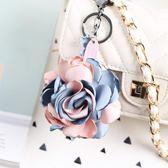韓國布藝花朵汽車鑰匙扣 女士 車鑰匙掛件創意高檔鑰匙鍊包包掛飾 晴天时尚馆