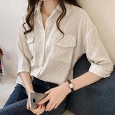 白色襯衫 很仙的上衣設計感雪紡襯衫女休閒寬鬆時尚韓版百搭洋氣條紋襯衣夏