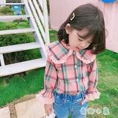 女童格子襯衫長袖上衣純棉時尚國小兒童寶寶襯衣【奇趣小屋】