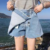 褲裙 牛仔短褲女韓版學生裝chic熱褲大碼200斤胖mm寬鬆顯瘦闊腿褲裙 卡菲婭
