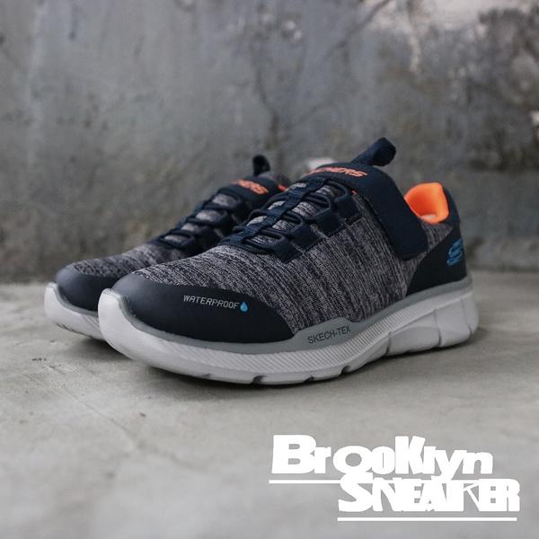 SKECHERS AIR-COOLED 灰藍橘 防潑水 魔鬼氈 休閒鞋 童鞋 (布魯克林) 2019/3月 97925LNVGY