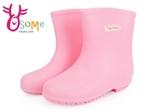 女童雨鞋 素色舒適止滑耐穿 中大童雨鞋K7340#粉紅◆OSOME奧森鞋業