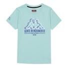 KAPPA義大利女吸濕排汗圓領衫 絲藍綠 台灣製 31184DWU7U