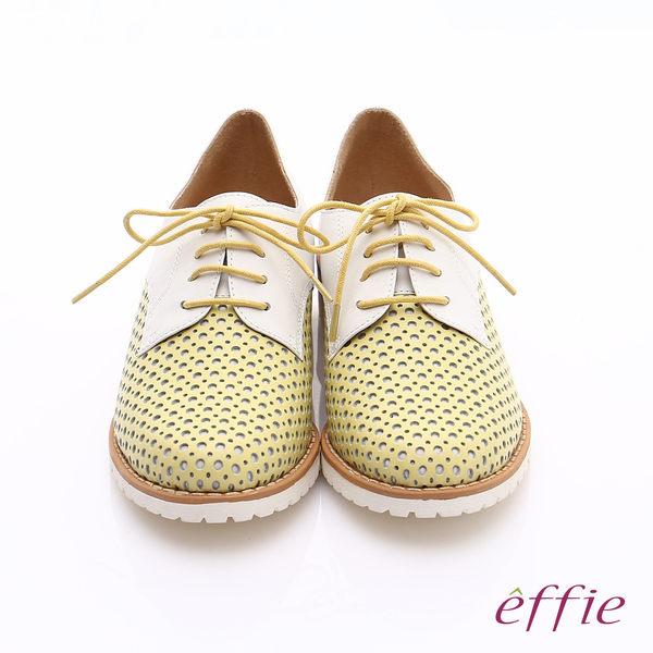 effie 都會休閒 經典牛皮拼色綁帶牛津平底鞋  黃