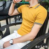 Polo衫夏季男裝大碼男士針織型男冰絲彈力翻領短袖T恤 XW2543【潘小丫女鞋】