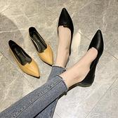 單鞋女平底新款復古百搭軟底四季鞋尖頭淺口舒適職業工作鞋子 雙12全館免運
