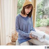 《AB8524》台灣製造.磨毛拼接條紋上衣 OrangeBear