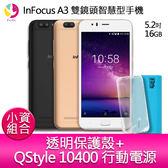 InFocus A3 雙鏡頭智慧型手機『贈透明保護殼+QStyle 10400 雙輸出行動電源』