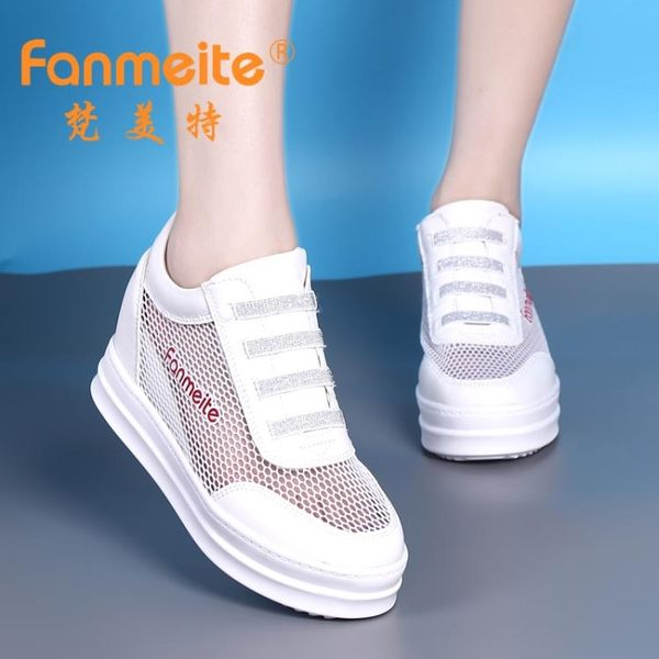 增高鞋 特價夏季內增高女鞋網鞋厚底坡跟韓版百搭鏤空透氣運動鞋女休閒鞋 MKS霓裳細軟