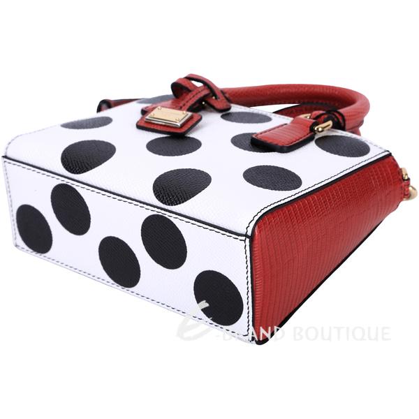 DOLCE & GABBANA 波卡圓點拼接兩用提包(紅x白x黑) 1520610-37