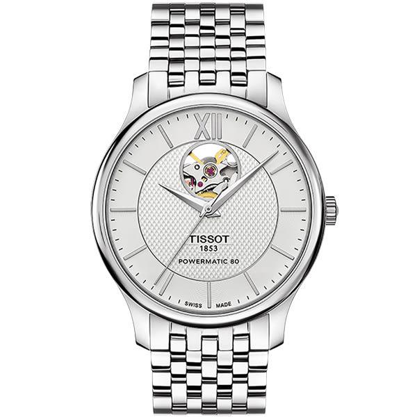 [結帳再折]TISSOT 天梭T-Tradition 動力儲存80小時 鏤空視窗機械腕錶-銀-40mm-T0639071103800