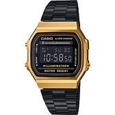 CASIO 卡西歐 Digital 經典電子錶-黑金 A168WEGB-1BDF / A-168WEGB-1B