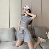 休閒運動套裝女夏季韓版修身連帽短袖T恤 高腰短褲時尚氣質兩件套