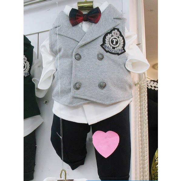 韓國童裝 男寶寶 花童婚禮宴會正式西裝 背心三件式套裝-灰【KORE210020031】