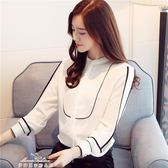 新款雪紡衫長袖襯衫女韓版顯瘦上衣立領ol打底職業小衫潮「夢娜麗莎精品館」