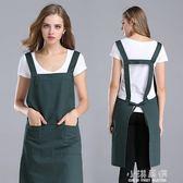 圍裙韓版時尚工作服純棉廚房家用圍裙圍腰女廣告圍裙『小淇嚴選』