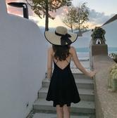 小心機海邊度假沙灘裙女小個子性感露背吊帶連身裙ins小黑裙短裙