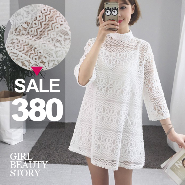 SISI【E8003】清新甜美可愛立領鏤空透視蕾絲雕花中袖內搭細肩吊中長款連身裙洋裝