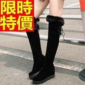 長靴-造型休閒潮流繫帶圓頭內增高過膝女馬靴64e4【巴黎精品】