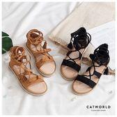 Catworld 後拉鍊綁帶羅馬涼鞋【19000368】‧35/36/37/38/39/40