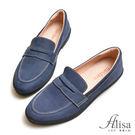 專櫃女鞋 麂皮車線休閒牛津鞋-艾莉莎Alisa【2161617】藍色下單區