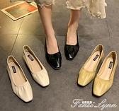 2021新款方頭單鞋女軟皮豆豆鞋粗跟低跟淺口百搭奶奶鞋晚晚仙女鞋 范思蓮恩