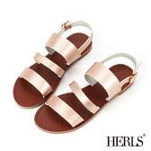 涼鞋-HERLS 度假氣息 三橫帶平底涼鞋-香檳粉