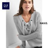 Gap女裝 時尚舒適純棉綁帶式長袖針織衫 154763-亮麻灰色