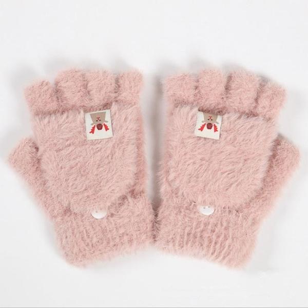 兒童手套 手套女冬季韓版可愛學生寫字露指半截保暖加絨翻蓋兒童戶外騎行【快速出貨好康八折】
