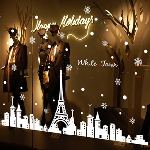 ►壁貼 白色鐵塔 城鎮聖誕雪花牆貼 PVC 透明膜牆貼 聖誕節 熱銷【A3072】