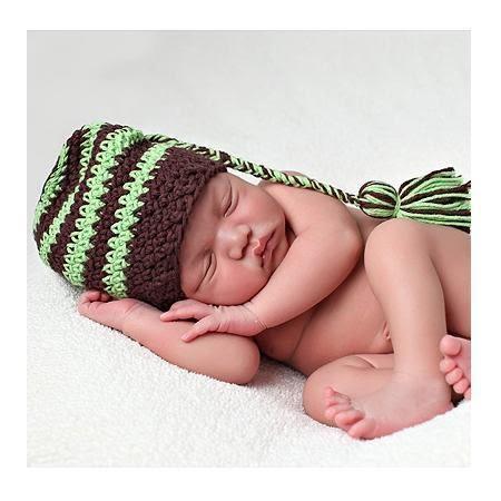 有機純綿針織帽: 蘋果綠咖啡線條: BD-28-4