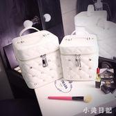 化妝包 便攜韓國簡約少女心品收納包大容量多功能化妝箱盒手提 js21594『小美日記』