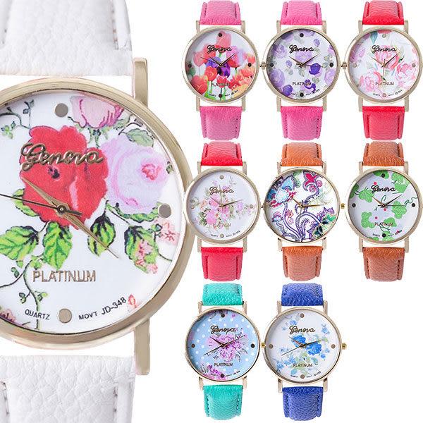 *Watch-123 手錶趣*【Geneva】上水的花 人氣捧場彩漾緹花腕錶/38mm(9色可選)