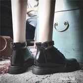 馬丁靴 馬丁靴女韓版新款時尚百搭小皮鞋女學院風低筒平底短靴女厚底靴子  朵拉朵衣櫥