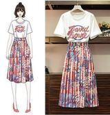 工廠批發價不退換原創女神氣質網紅款XL-5XL中大尺碼31930女裝夏裝洋氣套裝胖妹妹兩件套T恤 半身裙