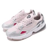 【六折特賣】adidas 休閒鞋 Falcon 粉紅 銀 女鞋 皮革鞋面 老爺鞋 復古慢跑鞋 運動鞋【ACS】 D96757