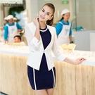 西裝外套-時尚網格縷空百搭白色夏季女外套...