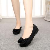 豆豆鞋 老北京布鞋女新款時尚平底豆豆單鞋上班軟底黑色工作鞋不累腳
