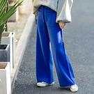 純棉針織休閒褲 加厚闊腿褲 純色直筒褲/2色-夢想家-1014