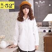 長版襯衫--甜美氣質側抓皺雙口袋造型素面翻領長袖長版襯衫(白.黑.紫M-2L)-I99眼圈熊中大尺碼