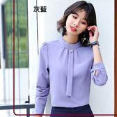 小三衣藏[8Y565-PF]立領珍珠釦OL長袖襯衫上衣~