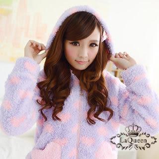 LaQueen 超甜時尚*連帽外套二件式珊瑚絨睡袍(愛心2011)
